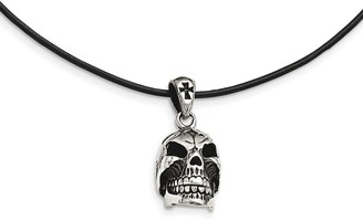 Chisel Stainless Steel Polished and Antiqued Moveable Skull Necklace
