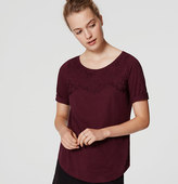 LOFT Petite Embroidered Ballet Neck Tee