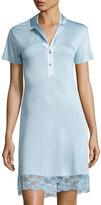 La Perla Airy Blooms Lace-Trim Nightgown, Light Blue
