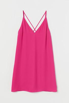 H&M V-neck Slip-style Dress - Pink