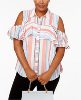 NY Collection Plus Size Striped Cold-Shoulder Shirt