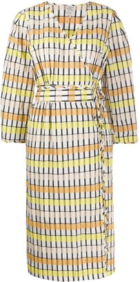Baum und Pferdgarten Wrap Front Striped Pattern Dress