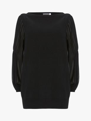 Mint Velvet Sheer Sleeve Jumper, Black
