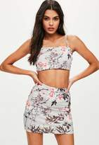 Missguided Petite Grey Printed Cropped Top, Multi
