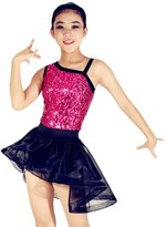 MiDee Ramps Neckline Hihg-Low Skirt Dance Costumes Competition Biketard Dance Wear (SC, )