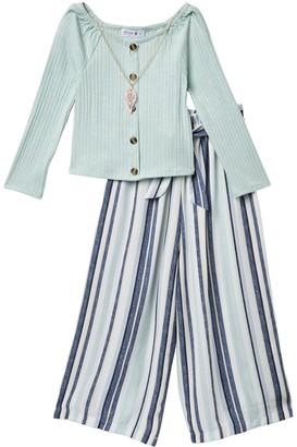 Beautees Solid Long Sleeve Top & Striped Pants Set (Big Girls)