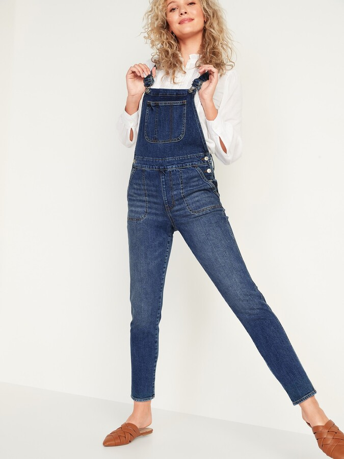 Old Navy O.G. Straight Dark-Wash Jean Overalls for Women