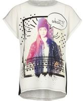 River Island Girls white color block print t-shirt