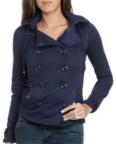 Wet Seal WetSeal Double Breasted Fleece Jacket Navy