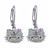 Hello Kitty Pave Crystal Earrings with Star Crystal/Enamel Bow
