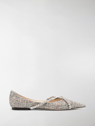 Jimmy Choo Glitter-Effect Ballerina Shoes