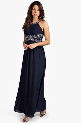 boohoo Embellished Lace Detail Chiffon Maxi Dress