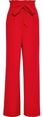 Alice + Olivia Farrel Bow-detailed Crepe Wide-leg Pants