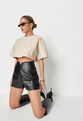 Missguided Faux Leather Oversized Crop Top