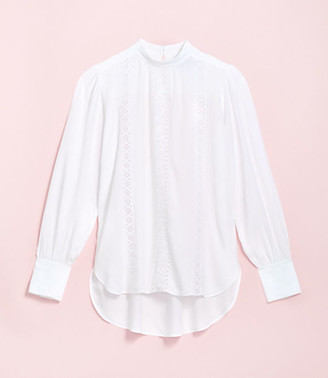 LOFT Petite Embroidered Mock Neck Blouse