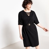 Castaluna Plus Size Belted Straight Midi Dress with Lace