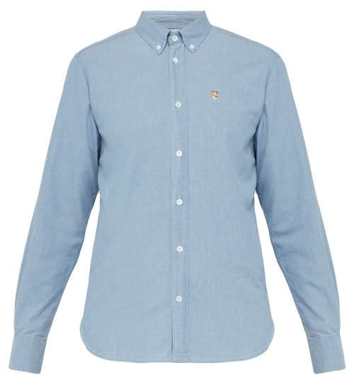 MAISON KITSUNÉ Fox Embroidered Cotton Chambray Shirt - Mens - Blue