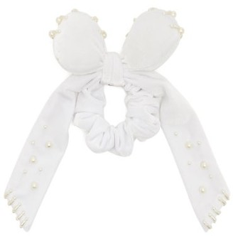 Lafayette House Of Bambou Faux-pearl Embellished Velvet Scrunchie - Womens - White