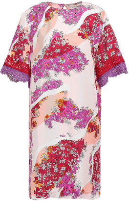 Emilio Pucci Lace-trimmed Floral-print Silk-twill Mini Dress