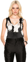 Ann Demeulemeester Printed Tank in Abstract,Black,Gray,Ombre & Tie Dye,White.