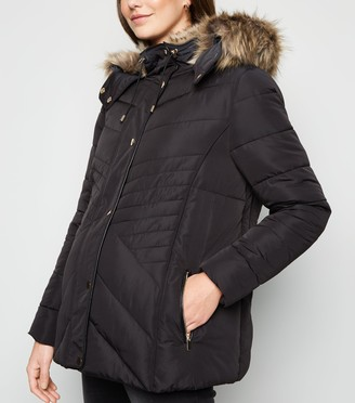New Look Maternity Faux Fur Trim Fitted Puffer Jacket