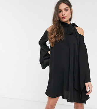 John Zack Petite high neck cold shoulder swing dress in black