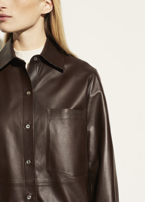 Vince Leather Patch Pocket Shirt