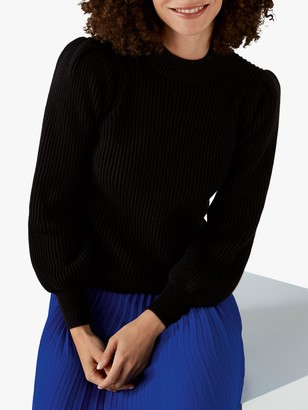 Pure Collection Puff Sleeve Jumper, Black
