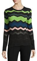 M Missoni Zigzag Long-Sleeve Pullover Sweater, Black