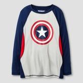 Marvel Boys' Captain America Long Sleeve T-Shirt Navy/Silver