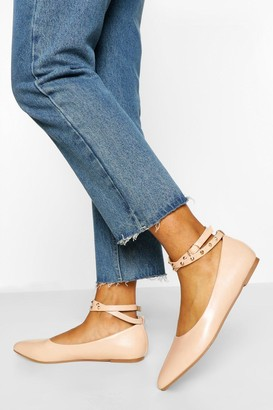 boohoo Studded Ankle Strap Pointed Toe Ballet Pump
