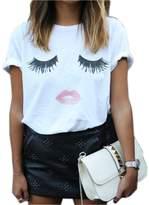 SZHEM SZHEN Womens Cotton Tnaks Tops Cotton Short T Shirt Eyelash Summer Blouse