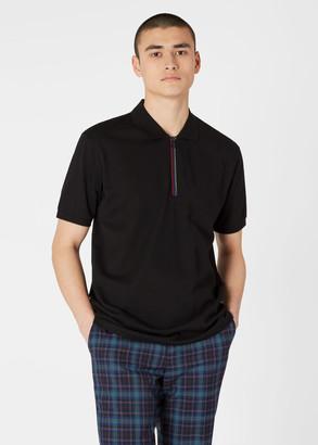 Paul Smith Men's Black Cotton Polo Shirt With 'Sports Stripe' Half-Zip