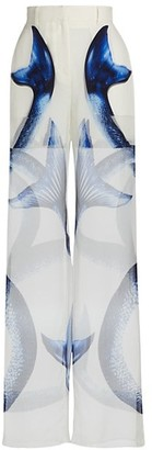 Burberry Double Layer Printed Silk Trousers
