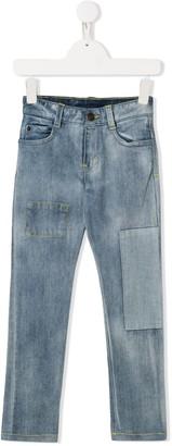 Little Marc Jacobs bleached patchwork jeans