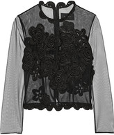 Simone Rocha Crochet-trimmed tulle top