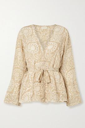 Hannah Artwear - Capri Floral-print Silk Crepe De Chine Wrap Top - Cream