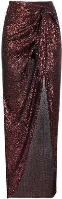 Balmain Sequined Tie-Front Midi Skirt
