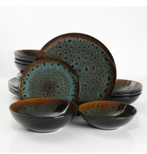 Gibson Kyoto Teal 16-piece Double Bowls Dinnerware Set, Service for 4