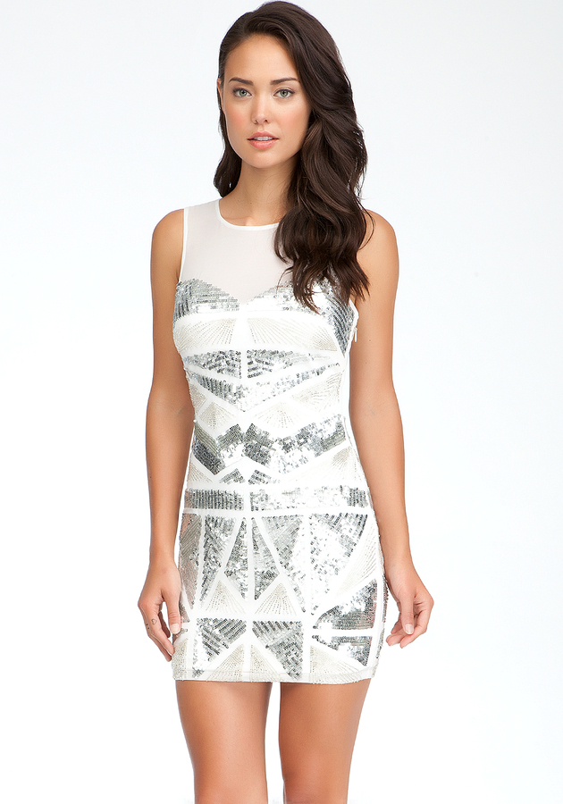 Bebe Metallic Beaded Dress