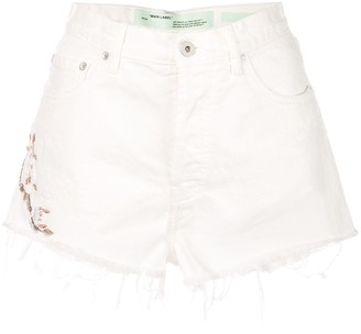 Off-White Cropped Denim Shorts