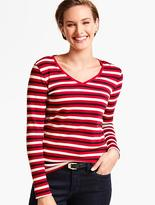 Talbots Long-Sleeve V-Neck Tee-Bold Stripes