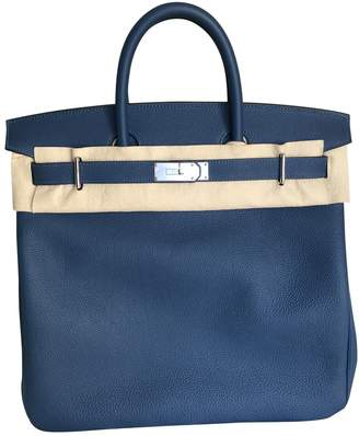 Hermes Haut a Courroies Navy Leather Travel bags