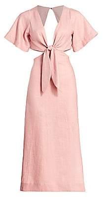 Cult Gaia Women's Maya Cutout Tie-Front Linen A-Line Dress