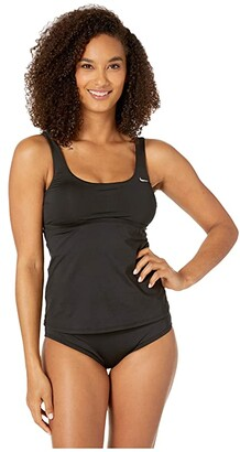 Nike Essential Scoop Neck Tankini (Black) Women's Swimwear