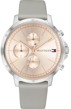 Tommy Hilfiger Women's Chronograph Gray Leather Strap Watch 38mm, Created for Macy's