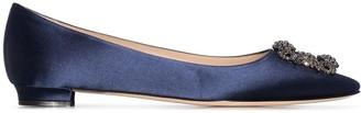Manolo Blahnik Hangisi embellished-buckle ballerina shoes