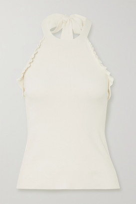 See by Chloe Ruffled Knitted Halterneck Top - White