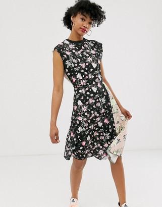 Cheap Monday organic cotton roses are dread mixed print dress-Black