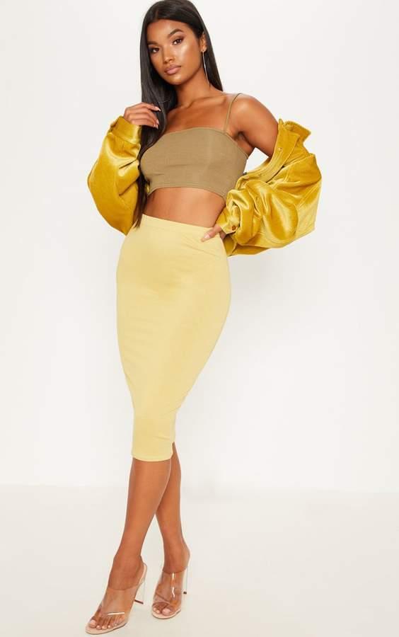 PrettyLittleThing Pale Olive Basic Midi Skirt